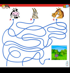 Paths maze game with farm animal characters vector