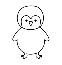 penguin polar animal bird icon line style vector image