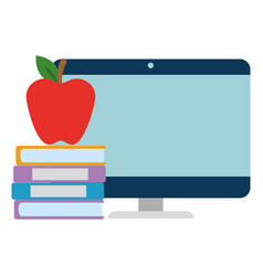 Pile text books with apple and computer vector