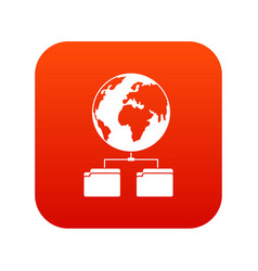 planet and two folders icon digital red vector image
