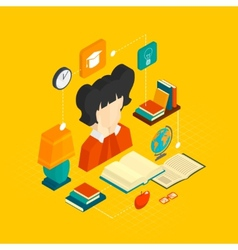 Reading Concept Isometric vector image