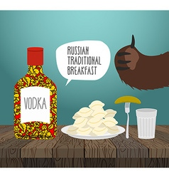 Russian traditional breakfast vodka dumplings and vector image