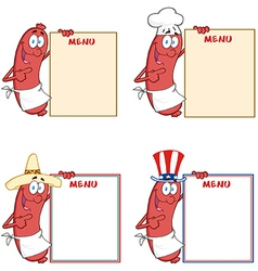 Sausages Showing Menu Collection vector image