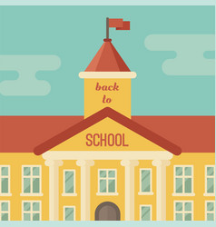 School building closeup with text back to school vector