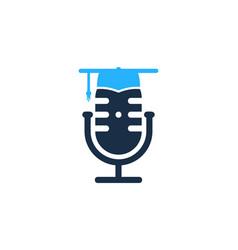 School podcast logo icon design vector