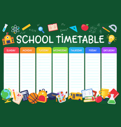 school timetable weekly planner schedule for vector image