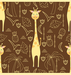 Seamless pattern with giraffe vector