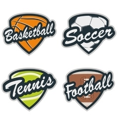Set of Baseball Tennis Soccer Basketball and vector