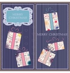 Set of christmas and new year cards with gifts vector image