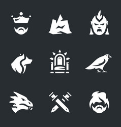 set of fantasy dragon story icons vector image