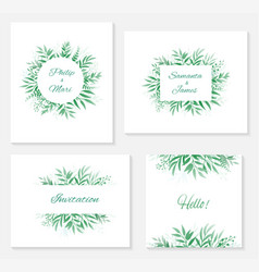 set of frames and invitations with branches vector image