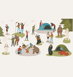 Set of tourists or backpackers pitching tent vector