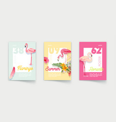 set posters with pink flamingo tropical vector image