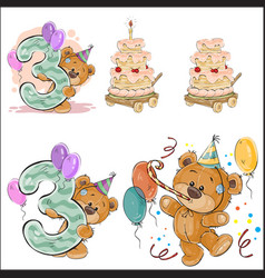 set with brown teddy bear vector image