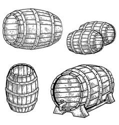 set wooden barrel beer in engraving vector image