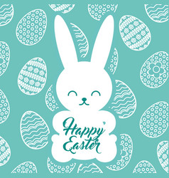 silhouette rabbit sitting happy easter egg vector image