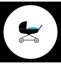 Simple black stroller for baby cradle icon eps10 vector