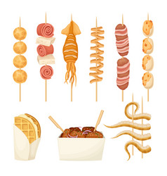Skewered hot spicy snacks with meat and seafood vector