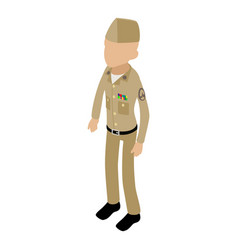 Soldier retro icon isometric 3d style vector