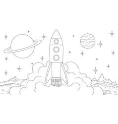 spaceship rocket takes off vector image
