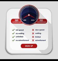 Speed meter with slow and fast download or upload vector