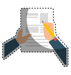 sticker shading hands writing in a sheet with vector image