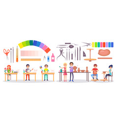 Students art supplies and stationery vector