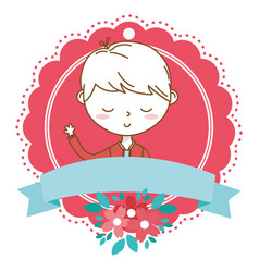 Stylish boy cartoon outfit portrait floral frame vector