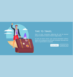 Time to travel web poster push buttons read more vector