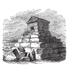 Tomb of cyrus cyrus caught sight vintage engraving vector