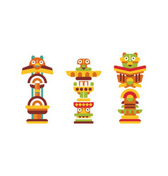 totem pole as monumental carving with figures vector image