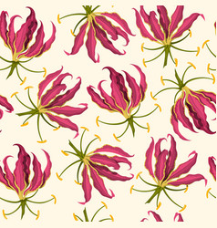 tropical flowers seamless pattern fabric print vector image