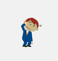 White businessman sick something dizzy vector