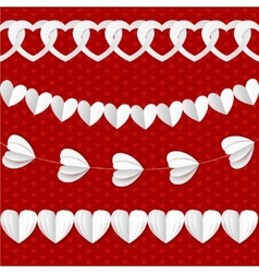 White seamless paper garlands from hearts vector image