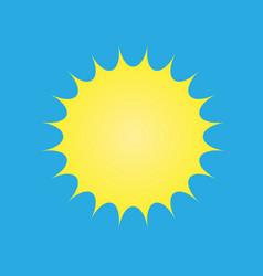 yellow sun symbol on blue background vector image