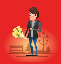 young guy waiting for his girlfriend with flowers vector image