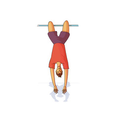 young male hanging upside down on horizontal bar vector image