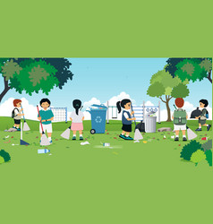 children are cleaning vector image