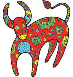 art with cartoon cow vector image vector image