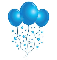 Blue balloons with stars vector image