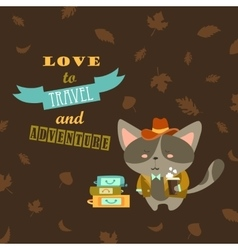 Cat traveler in suit with cup of coffee and vector image vector image