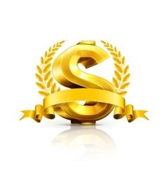 Dollar sign emblem vector image vector image