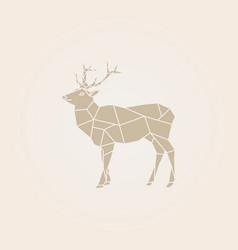 Low poly brown deer vector