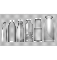 Set of transparent glass jar bottle vector