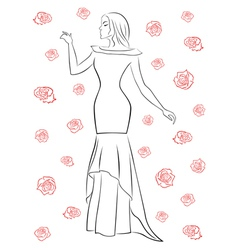 Stylish woman in a long dress among roses vector image