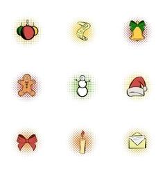 Xmas icons set pop-art style vector image vector image