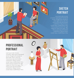 artist and portrait isometric banners vector image