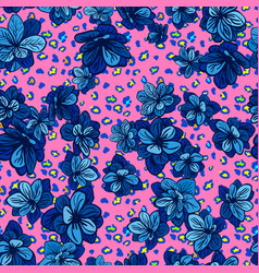 colorful seamless pattern with leopard print and vector image