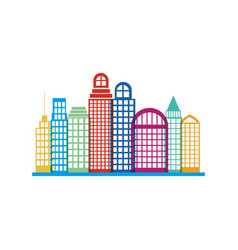 colorful silhouette city landscape with buildings vector image
