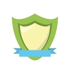 green shield protection emblem blue ribbon vector image vector image